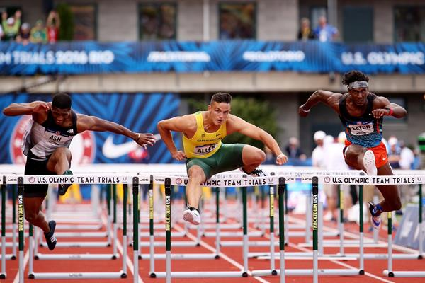 Devon Allen en route to his 110m hurdles victory at the US Olympic Trials (Getty Images)