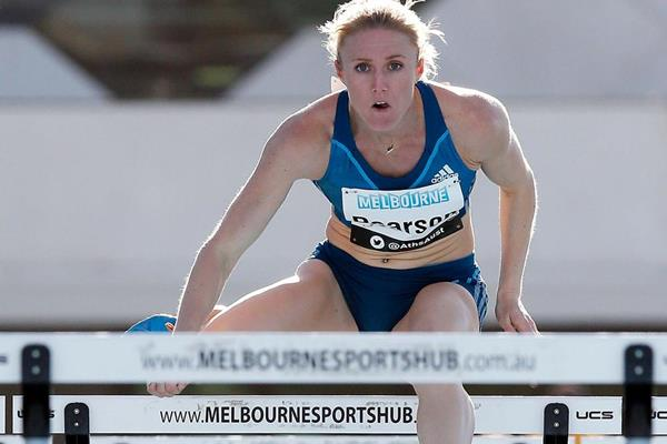Sally Pearson on her way to winning the 100m hurdles at the 2014 Australian Championships (Getty Images)