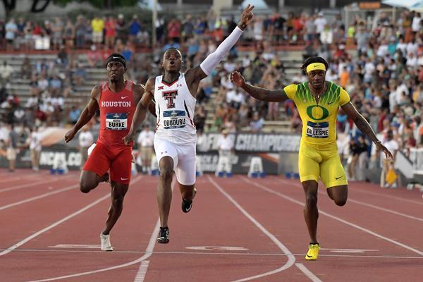 Divine Oduduru sizzles 9.86 to take the NCAA 100m title (Kirby Lee)