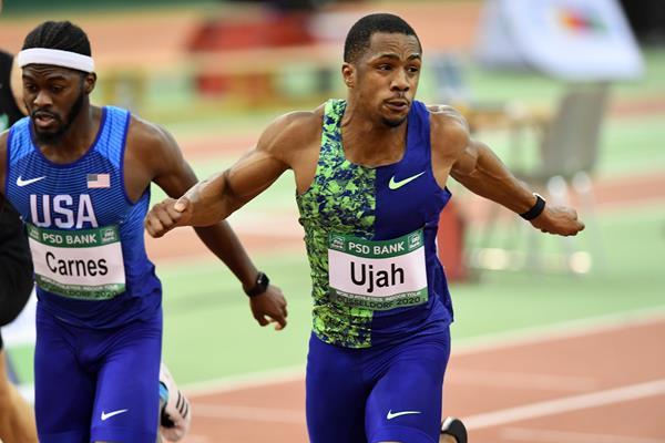 CJ Ujah on his way to winning the 60m at the World Athletics Indoor Tour meeting in Dusseldorf (Gladys Chai von der Laage)