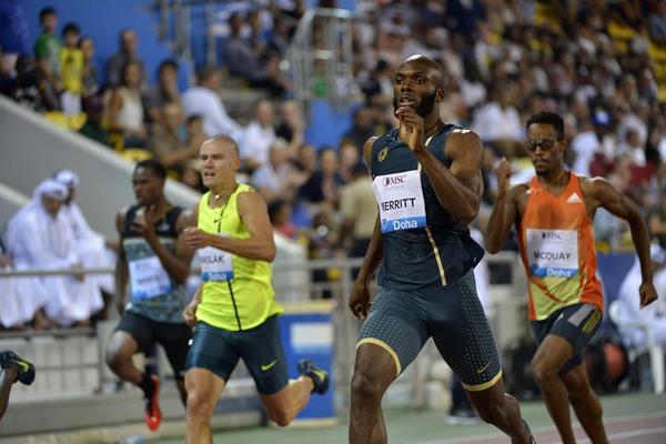 LaShawn Merritt winning the 400m at the 2014 IAAF Diamond League in Doha (Deca Text & Bild)