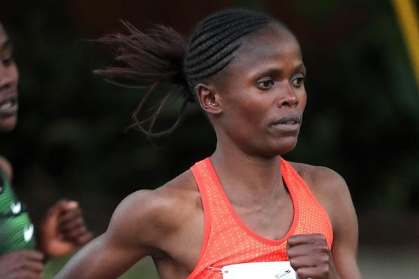 Brigid Kosgei on her way to winning the Houston Half Marathon (Victah Sailer)