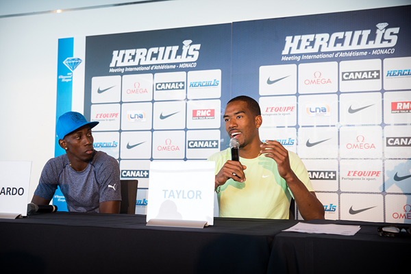Pedro Pablo Pichardo and Christian Taylor at the press conference for the IAAF Diamond League meeting in Monaco (Philippe Fitte)
