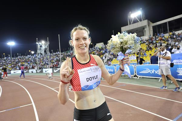 Eilidh Doyle after winning the 400m hurdles at the 2016 IAAF Diamond League meeting in Doha (Hasse Sjogren)