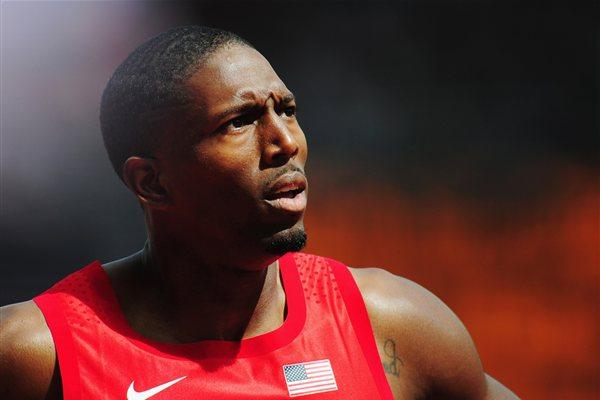 Michael Tinsley of the United States competes in the Men's 400m Hurdles Heats on Day 7 of the London 2012 Olympic Games at Olympic Stadium on August 3, 2012 (Getty Images)
