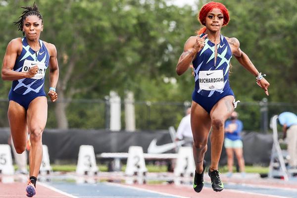 Sha'Carri Richardson wins the 100m at the Miramar Invitational (Kevin Morris)