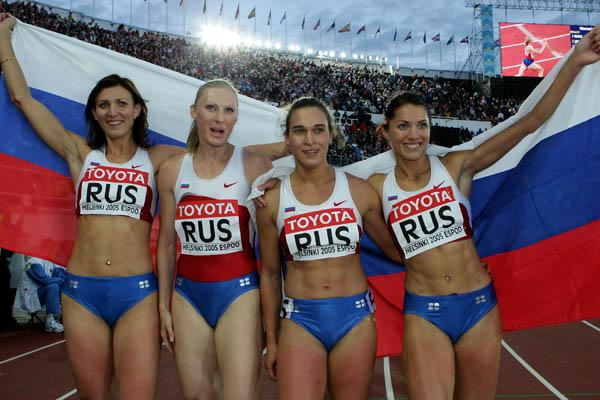 The Russian 4x400m relay team celebrate winning gold (Getty Images)