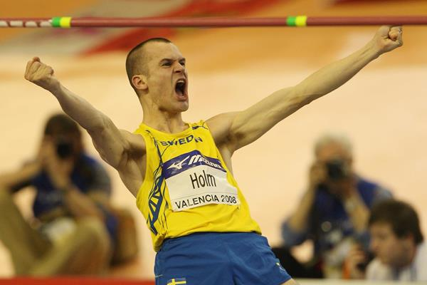 Stefan Holm celebrates world indoor title No. 4 (Getty Images)