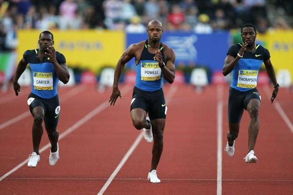 Asafa Powell winning at the Crystal Palace (Getty Images)