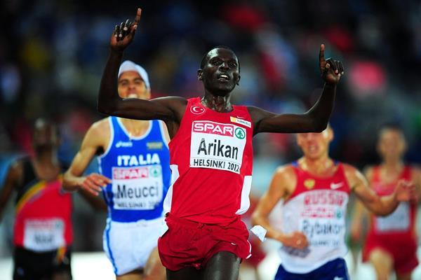 Polat Kemboi Arikan winning the 2012 European Championships 10,000m  (Getty Images)