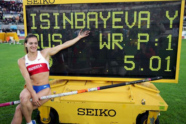 Yelena Isinbayeva of Russia celebrates breaking the Pole Vault World record (Getty Images)