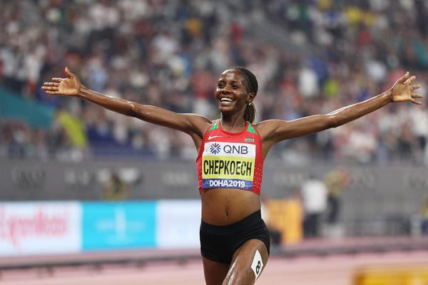 Beatrice Chepkoech wins the steeplechase at the IAAF World Athletics Championships Doha 2019 (Getty Images)