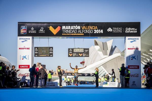 Jacob Kendagor winning the 2014 Maraton Valencia Trinidad Alfonso (Organisers)