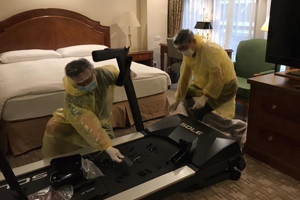 Organisers install treadmills in athletes' hotel rooms ahead of the Taipei Marathon (Organisers)