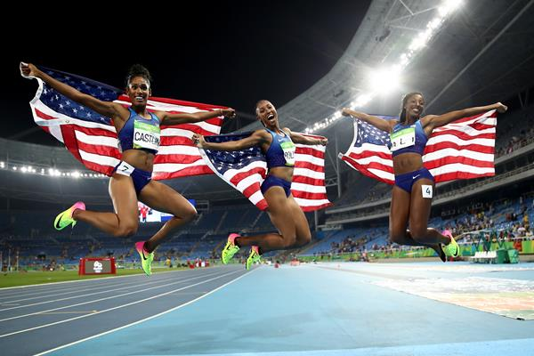 Bronze medallist Kristi Castlin, gold medallist Brianna Rollins and silver medallist Nia Ali after the 100m hurdles at the Rio 2016 Olympic Games (Getty Images)