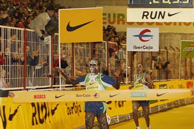 New Year's fun - covered in shaving cream, Eliud Kipchoge en route to his sizzling 26:54 in Madrid (Negami)