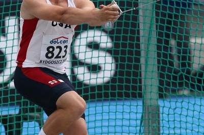 Walter Henning of USA on his way to victory in the Final of the Men's Hammer Throw (Getty Images)
