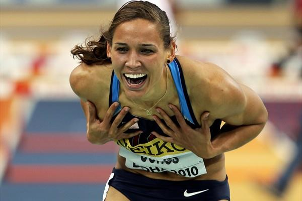 Lolo Jones of USA wins gold in the 60m Hurdles (Getty Images)