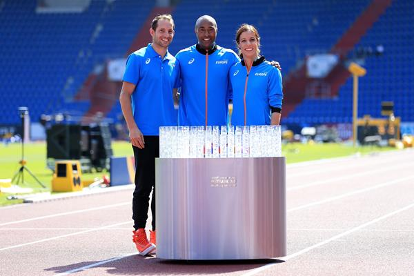 Renaud Lavillenie, Colin Jackson and Katerina Stefanidi in Ostrava (Getty Images)