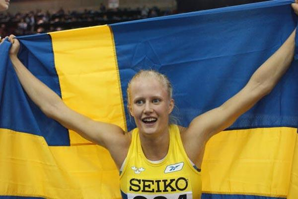 Carolina Kluft (SWE) celebrates winning the women's Pentathlon (Getty Images)