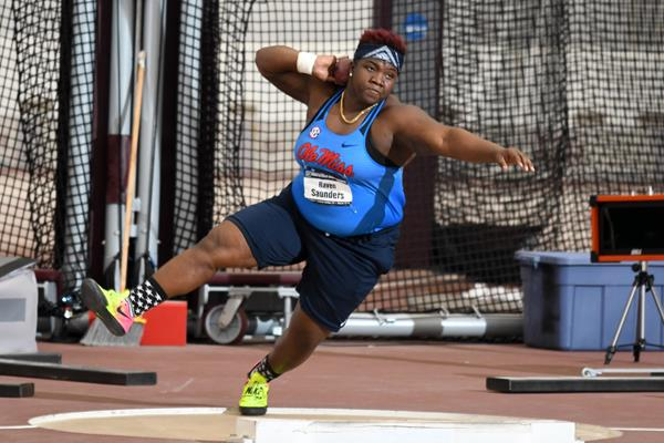 Raven Saunders winning the NCAA indoor shot put title in College Station (Kirby Lee)