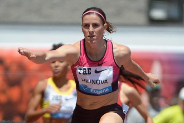 Zuzana Hejnova winning at the 2013 IAAF Diamond League in Eugene (Kirby Lee)