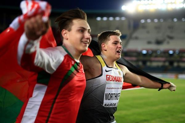 Timo Northoff after wining the shot put at the IAAF World U18 Championships Nairobi 2017 (Getty Images)