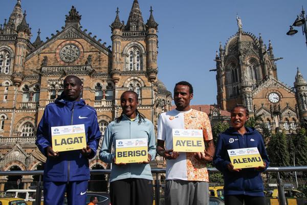 Cosmas Lagat, Amane Beriso, Ayele Abshero and Worknesh Alemu ahead of the 2020 Mumbai Marathon (Procam International)
