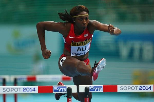 Nia Ali in the 60m hurdles heats at the 2014 IAAF World Indoor Championships in Sopot (Getty Images)
