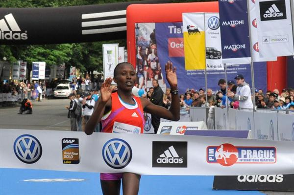 Agnes Kiprop wins 2012 women's race at the Volkswagen Prague Marathon  (organisers)