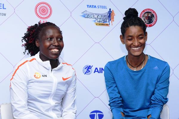 Florence Kiplagat and Degitu   Azimeraw at the TSK25K 2018 press conference (Procam International)