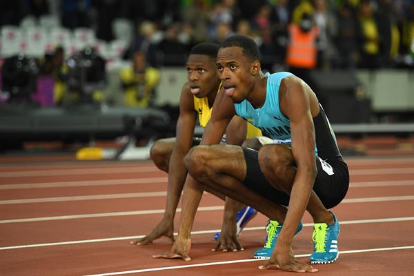 Steven Gardiner of the Bahamas and Nathon Allen of Jamaica after the men's 400m at the IAAF World Championships London 2017 (Getty)