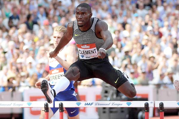 Kerron Clement winning the 400m hurdles at the IAAF Diamond League meeting in London (Kirby Lee)