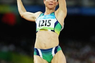 Maurren Higa Maggi jumps 7.04m in the women's long jump final (Getty Images)