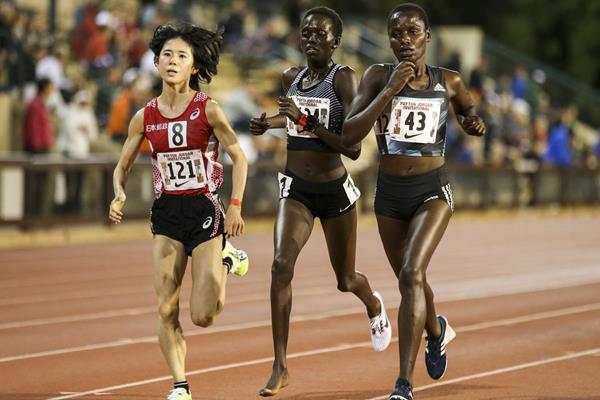 (l-r) Ayuko Suzuki, Irene Cheptai and Caroline Chepkoech in the women's 10,000m at the 2016 Payton Jordan International ( Spencer Allen/Image of Sport)