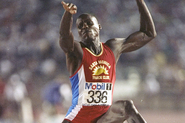 USA's Carl Lewis in action in the long jump (Getty Images)