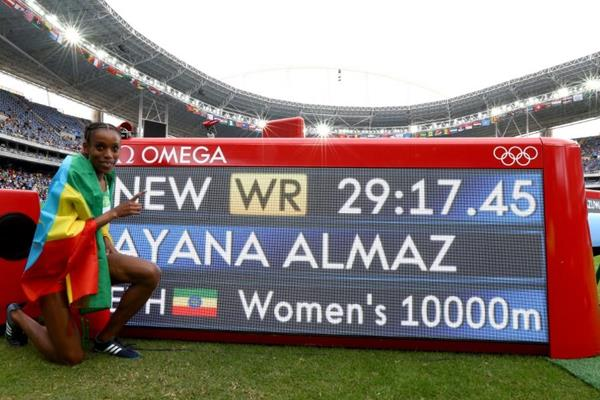 Almaz Ayana after breaking the 10,000m world record at the Rio 2016 Olympic Games (Getty Images)