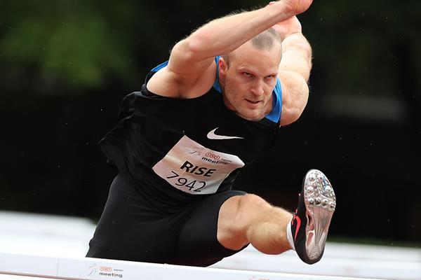 Lars Rise in action during the 110m hurdles at the IAAF Combined Events Challenge meeting in Kladno (Jan Kucharcik)