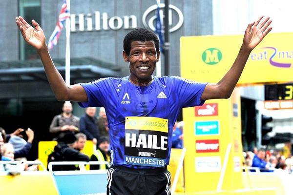 Haile Gebrselassie after finishing the 2015 Great Manchester Run (Mark Shearman)
