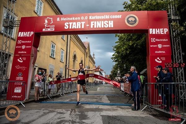 Sebastian Hendel winning the Karlovac 10km (Organisers)