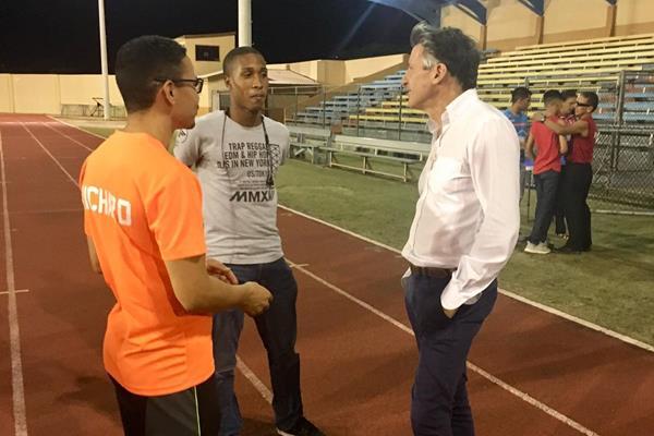 IAAF President Sebastian Coe at the national stadium in Oranjestad, Aruba (IAAF)