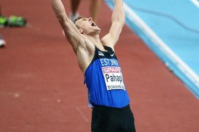 Estonia's Mikk Pahapill is pleased with a solid all-round performance on day one of the heptathlon at the 2009 European Indoor Championships (Getty Images)