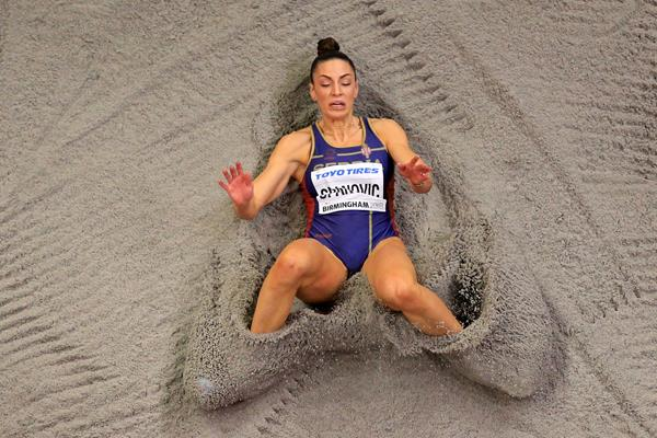 Ivana Spanovic in the long jump at the IAAF World Indoor Championships Birmingham 2018 (Getty Images)