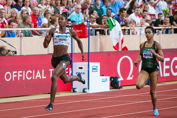 Shaunae Miller-Uibo on her way to winning the 400m at the IAAF Diamond League meeting in Monaco (Philippe Fitte)