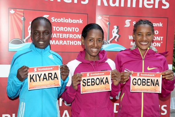 Nguriatukei Rael Kiyara, Mulu Seboka and Amane Gobena ahead of the 2014 Toronto Marathon (Victah Sailer)