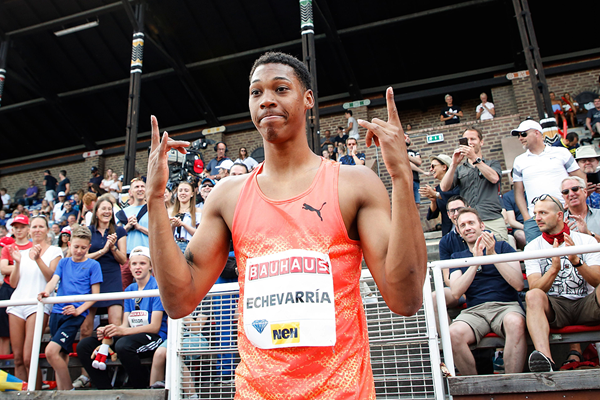 Juan Miguel Echevarria after winning the long jump at the IAAF Diamond League meeting in Stockholm (AFP / Getty Images)