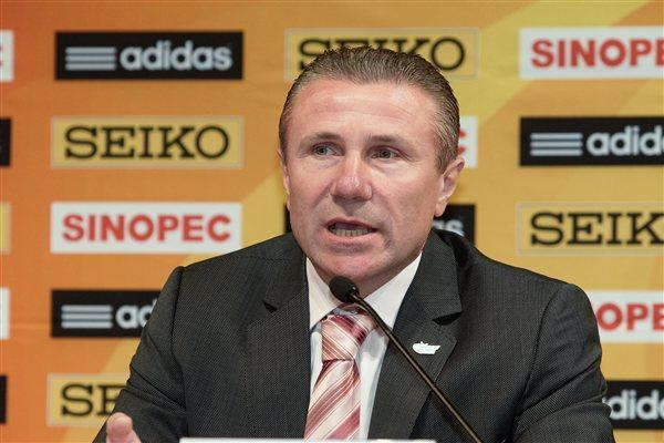 IAAF Vice President Sergey Bubka speaking at the IAAF Press Conference for the IAAF World Race Walking Cup in Saransk (Getty Images)