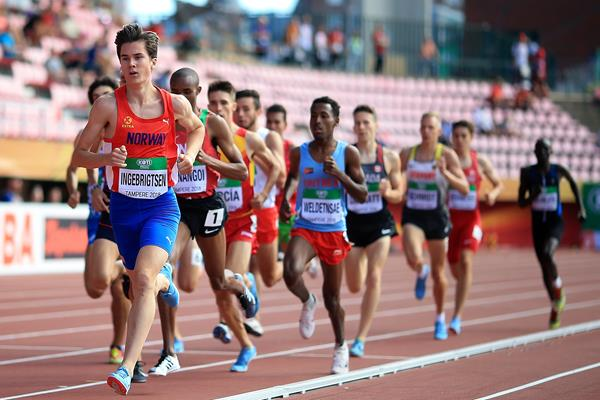 Jakob Ingebrigtsen in the 1500m at the IAAF World U20 Championships Tampere 2018 (Getty Images)