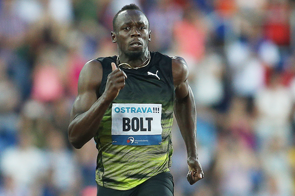 Usain Bolt on his way to winning the 100m at the Golden Spike meeting in Ostrava (AFP / Getty Images)