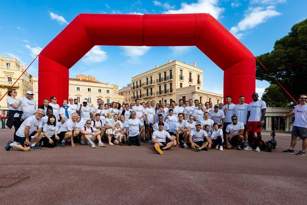 At the conclusion of the inaugural at the Athletics Family Mile Run in Monaco (Robert Palomba)
